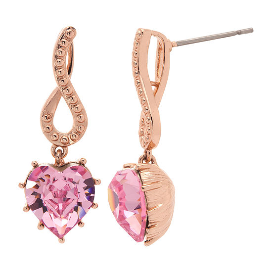 Sparkle Allure 1 Pair Pink 14k Rose Gold Over Brass Heart Drop Earrings