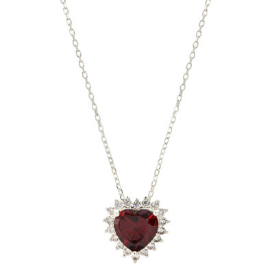 Sparkle Allure Womens Red Cubic Zirconia Pure Silver Over Brass Heart Pendant Necklace