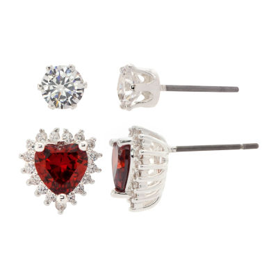 Sparkle Allure 2 Pair Red Pure Silver Over Brass Heart Earring Set