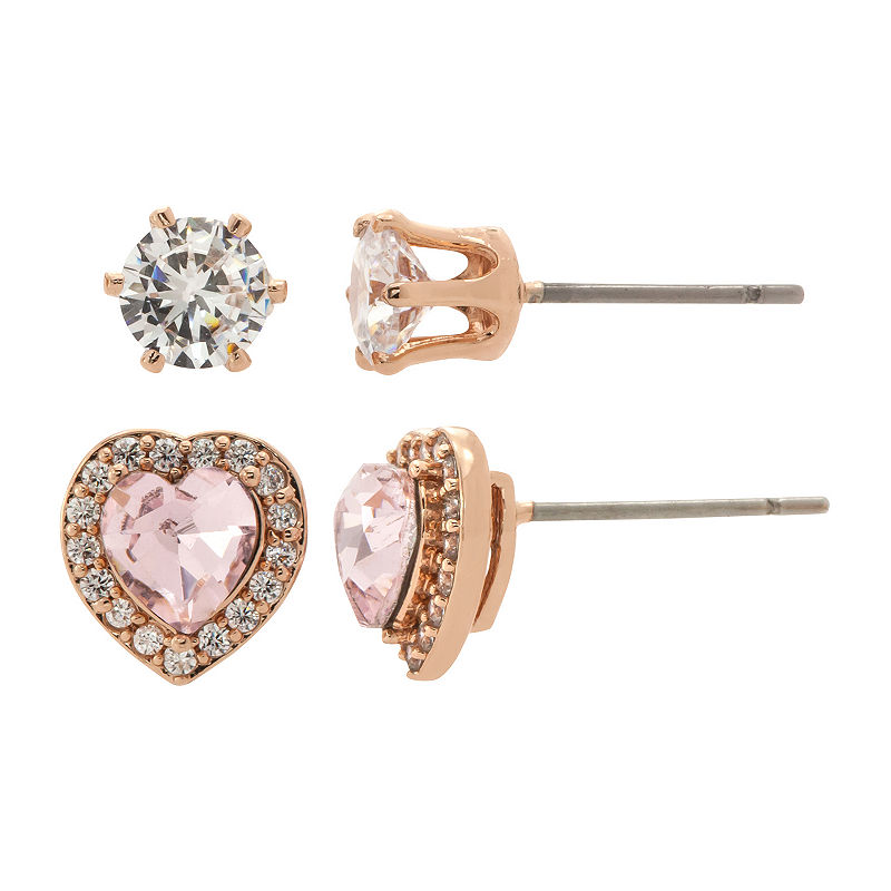 image of Sparkle Allure Vintage Rose And Clear Cz Heart Earring Duo 2 Pair Lab Created Pink 14k Rose Gold Over Brass Heart Earring Set