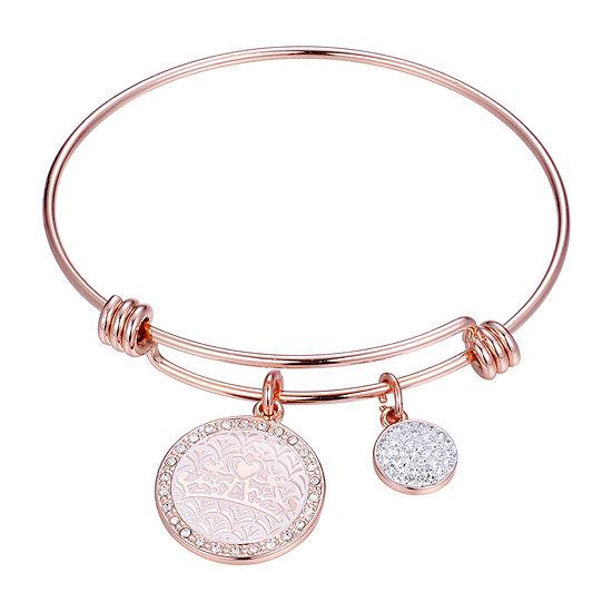 Disney Dream Big Tiara Clear Rose Tone Pure Silver Over Brass Princess Bangle Bracelet
