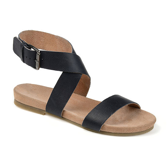 Journee Signature Womens Adller Ankle Strap Flat Sandals