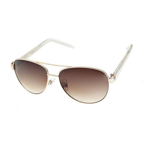 Nicole By Nicole Miller Womens Full Frame Aviator Uv Protection Sunglasses