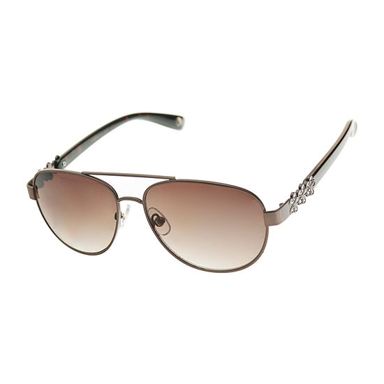 Nicole By Nicole Miller Womens Metal Aviator Full Frame UV Protection Sunglasses