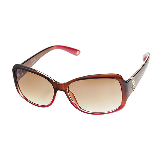 Nicole By Nicole Miller Womens Rectangle Full Frame UV Protection Sunglasses
