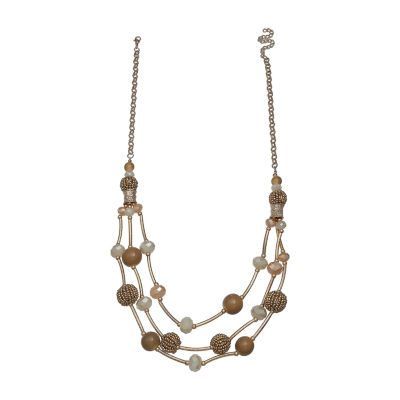 Mixit Tonal Triple Row Womens Lab Created Beaded Necklace