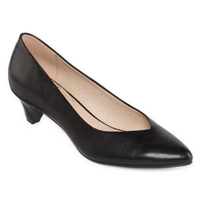Royu Womens Wylie Slip-on Pointed Toe Cone Heel Pumps