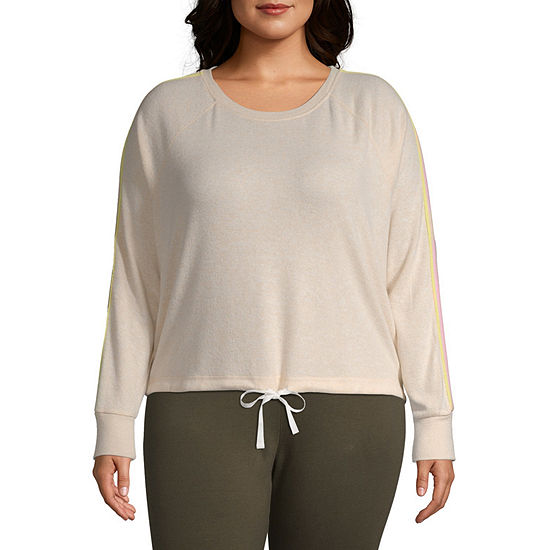Inspired Hearts-Juniors Plus Womens Round Neck Long Sleeve Blouse