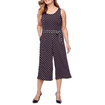 Perceptions Sleeveless Dot Print Jumpsuit