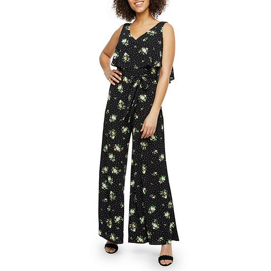Danny & Nicole Sleeveless Floral Dot Belted Jumpsuit