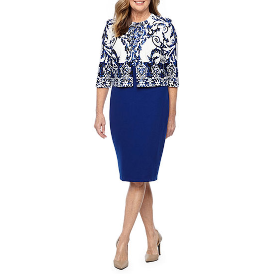 Danny & Nicole 3/4 Sleeve Scroll Print Jacket Dress
