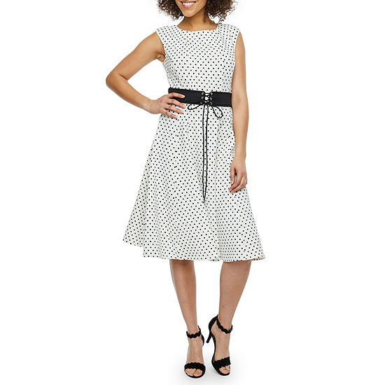 Danny & Nicole Sleeveless Polka Dot Fit & Flare Dress