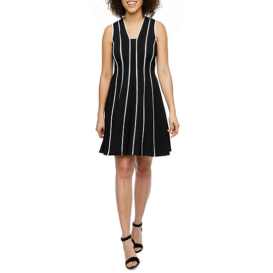 Danny & Nicole Sleeveless Striped Fit & Flare Dress