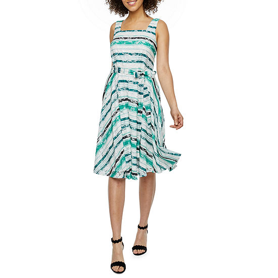 Danny & Nicole Sleeveless Striped Lace Fit & Flare Dress