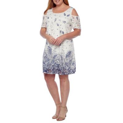 Robbie Bee Short Sleeve Cold-Shoulder Paisley Lace Shift Dress-Plus