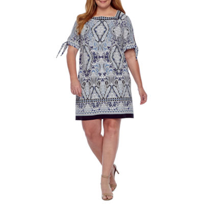 Studio 1 Short Tie Sleeve Puff Print Shift Dress-Plus