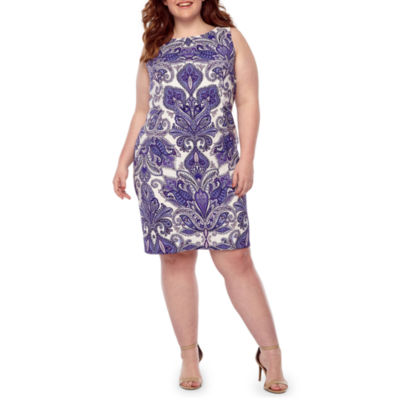 Alyx Sleeveless Paisley Shift Dress-Plus