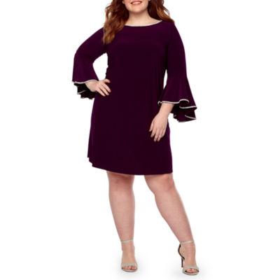 MSK Long Sleeve Embellished Shift Dress-Plus