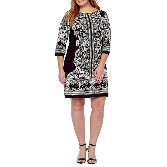 Tiana B 3 4 Sleeve Floral Puff Print Shift Dress Plus