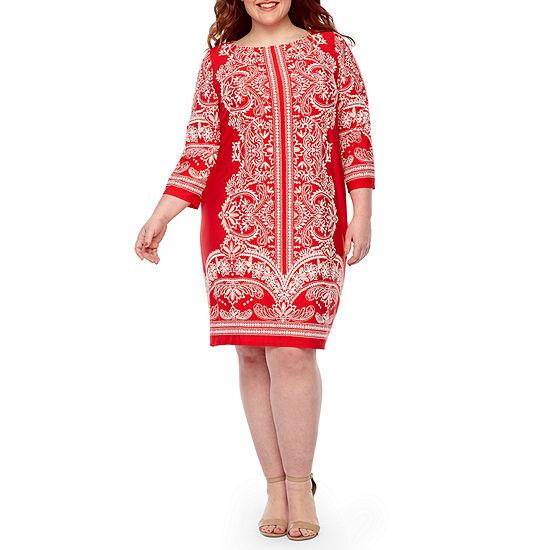 Tiana B 3/4 Sleeve Floral Puff Print Shift Dress-Plus