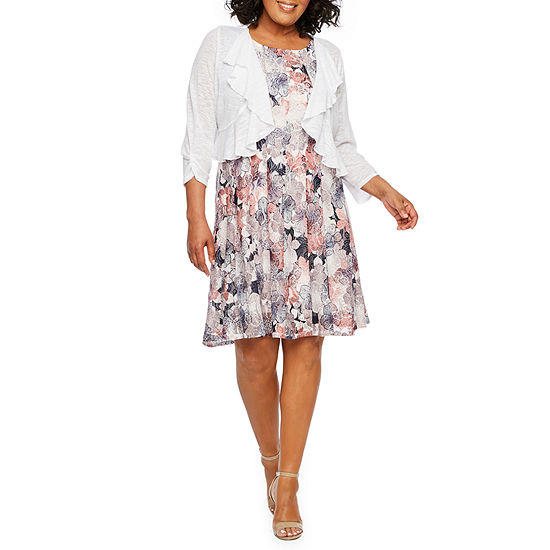 Perceptions 3/4 Ruched Sleeve Floral Jacket Dress-Plus