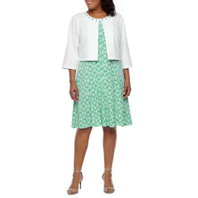Perceptions 3/4 Sleeve Puff Print Jacket Dress-Plus