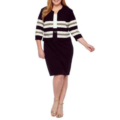 Studio 1 3/4 Sleeve Jacket Dress-Plus