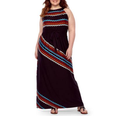 Danny & Nicole Sleeveless Chevron Maxi Dress-Plus