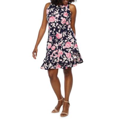 Robbie Bee Sleeveless Floral Puff Print Sheath Dress-Petite