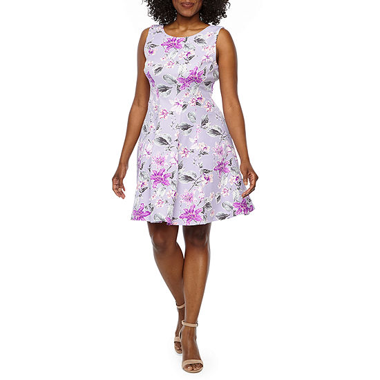 Studio 1 Sleeveless Floral Fit Flare Dress Petite