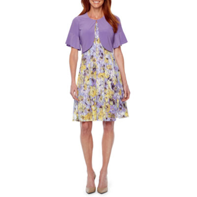 Perceptions Short Bell Sleeve Floral Lace Jacket Dress- Petite