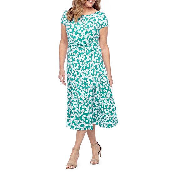 Perceptions-Petite Short Sleeve Dots Midi Fit & Flare Dress