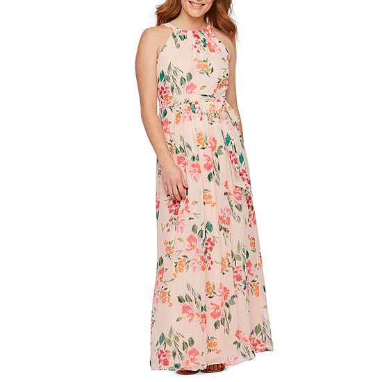 Jessica Howard Sleeveless Floral Maxi Dress-Petite