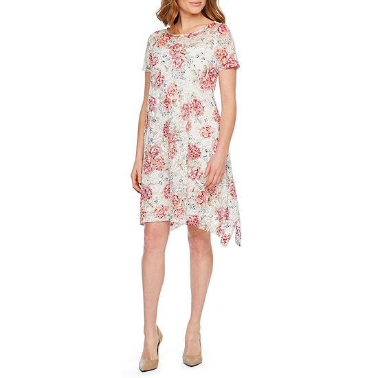 Robbie Bee Short Sleeve Floral Lace A-Line Dress-Petite