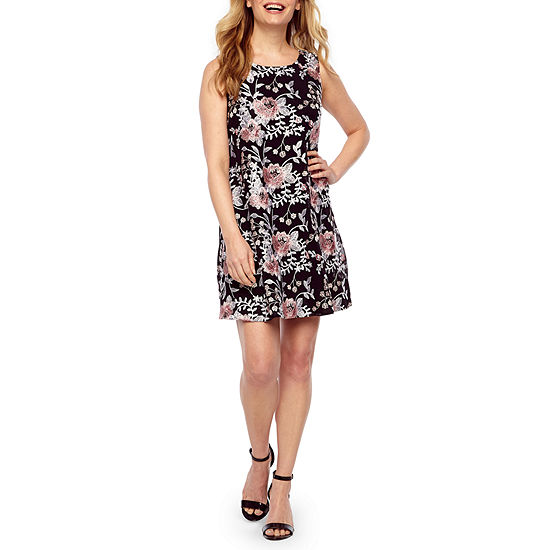 Robbie Bee Sleeveless Embroidered Floral A-Line Dress-Petite