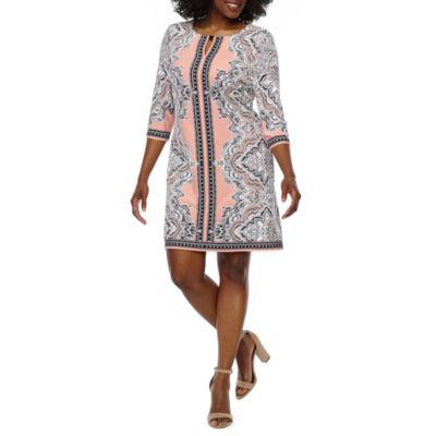 Studio 1 3/4 Sleeve Medallion Print Shift Dress-Petite