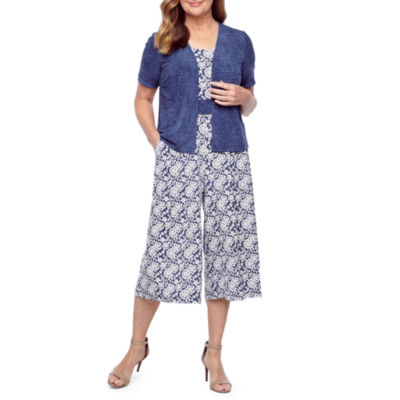 Perceptions Short Sleeve Floral Puff Print Jumpsuit-Petite