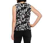 Black Label by Evan-Picone Womens Keyhole Neck Sleeveless Floral Blouse