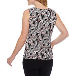 Black Label by Evan-Picone Womens Cowl Neck Sleeveless Blouse