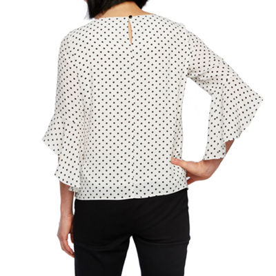 Black Label by Evan-Picone Womens round Neck 3/4 Sleeve Blouse