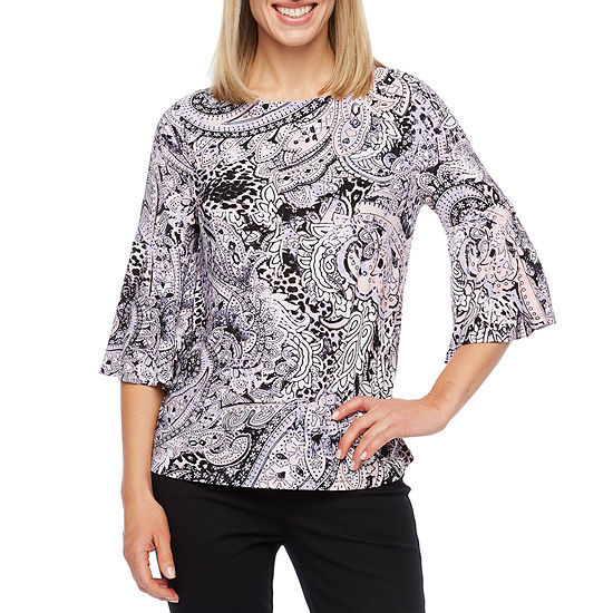 Black Label by Evan-Picone Womens Crew Neck 3/4 Sleeve Blouse