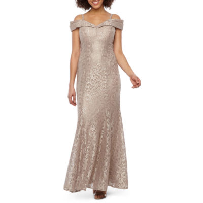 R & M Richards Short Sleeve Cold Shoulder Lace Evening Gown