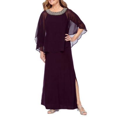 R & M Richards 3/4 Sleeve Embellished Cape Evening Gown