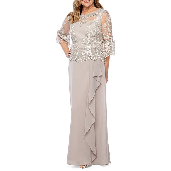 Maya Brooke 3/4 Bell Sleeve Embroidered Evening Gown