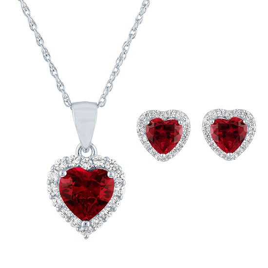 Lab Created Red Ruby Sterling Silver Heart 2-pc. Jewelry Set