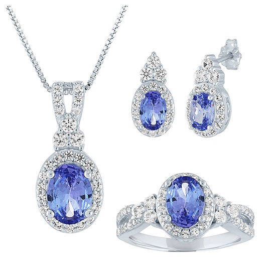 Simulated Blue Tanzanite Sterling Silver 3-pc. Jewelry Set