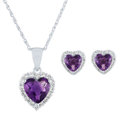 Lab Created Purple Amethyst Sterling Silver Heart 2-pc. Jewelry Set