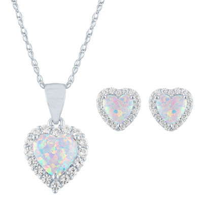 Lab Created White Opal Sterling Silver Heart 2-pc. Jewelry Set