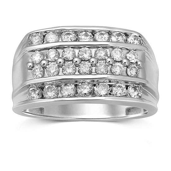 Mens 1 1 2 Ct Tw Genuine Diamond 10k White Gold Fashion Ring