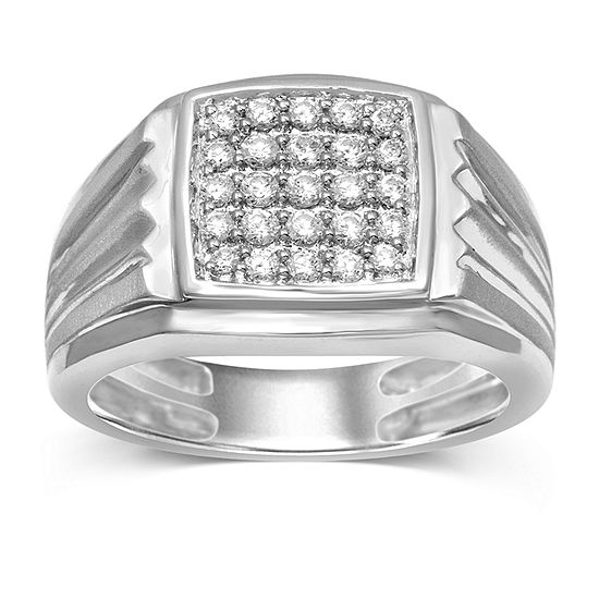 Mens 1/2 CT. T.W. Genuine Diamond Sterling Silver Fashion Ring
